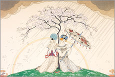 Gallery print  Two women sheltering from the rain, under a tree - Georges Barbier