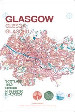 Wall sticker  Glasgow city map - campus graphics