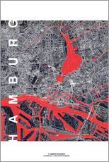 Wall Stickers  Hamburg city map midnight - campus graphics