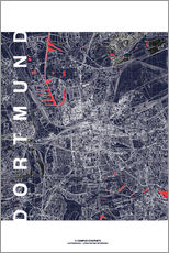 Wall sticker  City of Dortmund Map midnight - campus graphics