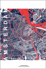 Gallery print  City of Amsterdam Map midnight - campus graphics