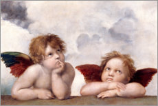 Wood print  Little angels - Raffael