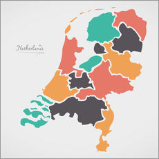 Wall sticker  Netherlands map modern abstract with round shapes - Ingo Menhard