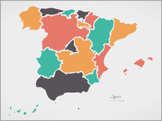Wall Stickers  Spain map modern abstract with round shapes - Ingo Menhard