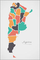 Gallery print  Argentina map modern abstract with round shapes - Ingo Menhard