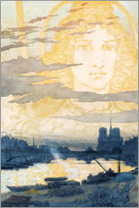 Canvas print  Seine and Notre Dame with a gods shape - Eugene Grasset