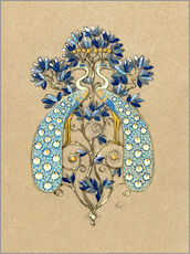Wall Sticker  Design for a Belt Buckle with Peacock Motif - Eugene Grasset