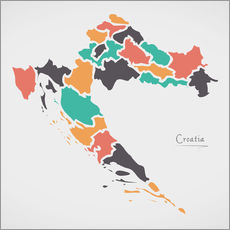 Gallery print  Croatia map modern abstract with round shapes - Ingo Menhard