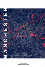 Gallery print  Manchester Map Midnight Map - campus graphics