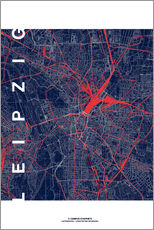 Gallery print  Leipzig Map Midnight city - campus graphics