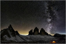Wall sticker Lonely Tent under Milky way over Tre cime - Dolomites