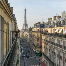 Wall sticker Historic house facades and Eiffel Tower in Paris, France