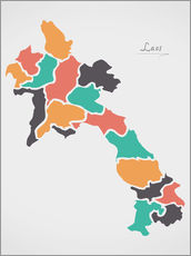 Wall sticker  Laos map modern abstract with round shapes - Ingo Menhard