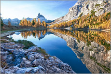 Wall sticker  Lake Federa in autumn, Dolomites, Veneto, Italy - Roberto Sysa Moiola