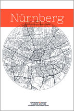 Wall Stickers  Nuremberg map city black and white - campus graphics