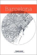 Gallery print  Barcelona map circle - campus graphics