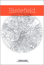 Gallery print  Bielefeld map circle - campus graphics