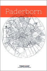 Gallery print  Paderborn map circle - campus graphics