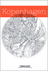 Wall Stickers  Copenhagen map city black and white - campus graphics