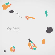 Wall sticker Cape Verde map modern abstract with round shapes