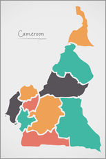 Wall sticker Cameroon map modern abstract with round shapes