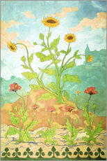 Wall Sticker  Sunflowers and Poppies - Paul Ranson
