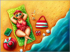 Gallery print  Plump woman on the beach - Elena Schweitzer