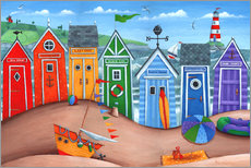 Wall Sticker  Beach hut rainbow scene - Peter Adderley