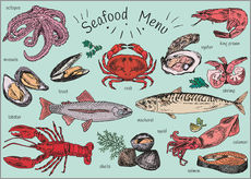 Wall sticker Seafood menu
