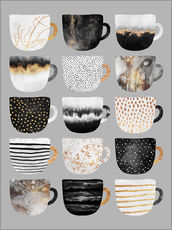 Wall sticker  Pretty coffee cups 3 in grey - Elisabeth Fredriksson