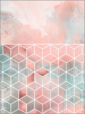 Gallery print  Rose Clouds And Cubes - Elisabeth Fredriksson