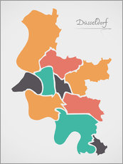 Gallery print  Dusseldorf city map modern abstract with round shapes - Ingo Menhard