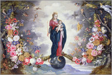 Wall sticker  The Virgin and Child surrounded by a garland - Jan Brueghel d.Ä.