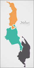 Wall sticker Malawi map modern abstract with round shapes