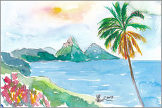 Gallery print  St Lucia Caribbean Dreams With Sunset and Pitons Peaks - M. Bleichner