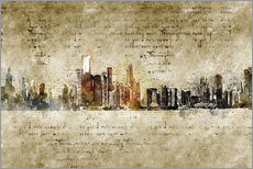 Wall Stickers  Chicago skyline in modern abstract vintage look - Michael artefacti