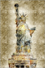 Wall sticker  Statue of liberty New York in modern abstract vintage look - Michael artefacti