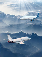 Gallery Print  Two aircrafts over the mountains