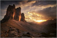Gallery print  Three Peaks Dolomites Sunset - Christian Möhrle