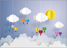 Wall sticker Balloon ride in the clouds