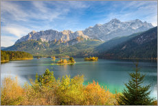 Gallery print  Autumn at the Eibsee with a view to the Zugspitze - Michael Valjak