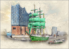 Peter Roder - Hamburg Elbphilharmonie with the sailing ship Alexander von Humboldt