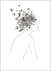 Wall sticker  Butterflies in the head - Wadim Petunin