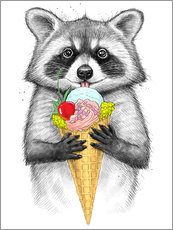Wall sticker Raccoon with ice cream