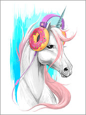 Wall sticker  Unicorn with headphones - Nikita Korenkov