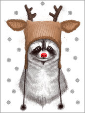 Gallery print  Raccoon in Deer Hat - Nikita Korenkov