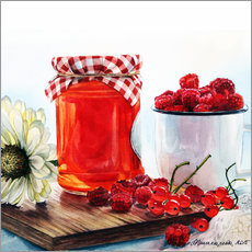 Wall sticker Raspberry jam watercolor painting
