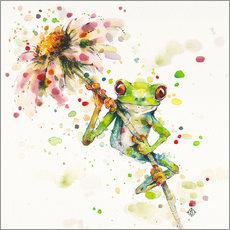 Gallery print  Hello there, bright eyes (Green tree frog) - Sillier Than Sally