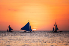 Wall sticker Sailboats in the sunset