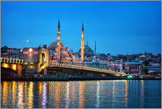 Gallery Print  Galata Bridge at night in Istanbul